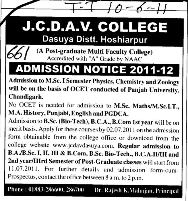 MSc in Physics Chemistry and Zoology etc (JC DAV College)
