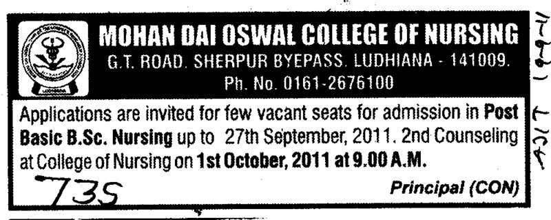 Post Basic BSc Nursing (Mohan Dai Oswal College of Nursing)
