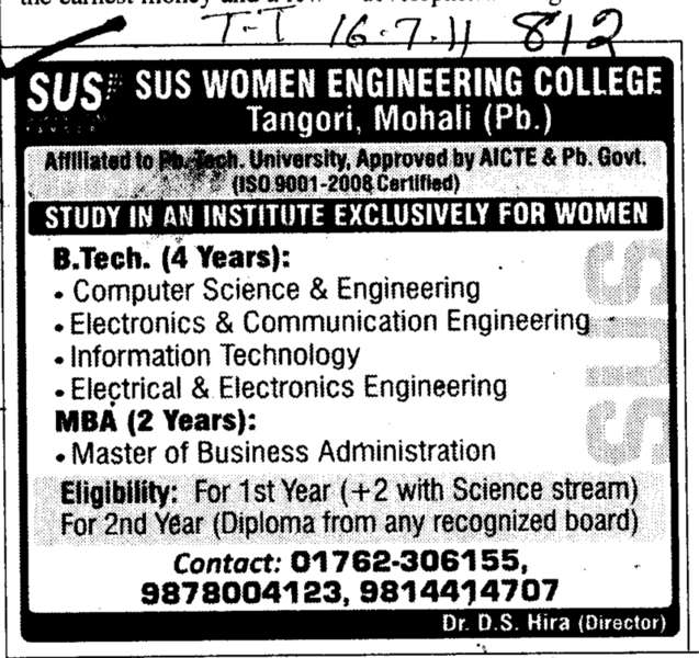 BTech and MBA Course (Saheed Udham Singh (SUS) Women Engineering College)