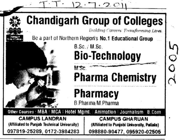 Biotechnology Pharma Chemistry and Pharmacy (Chandigarh Group of Colleges)
