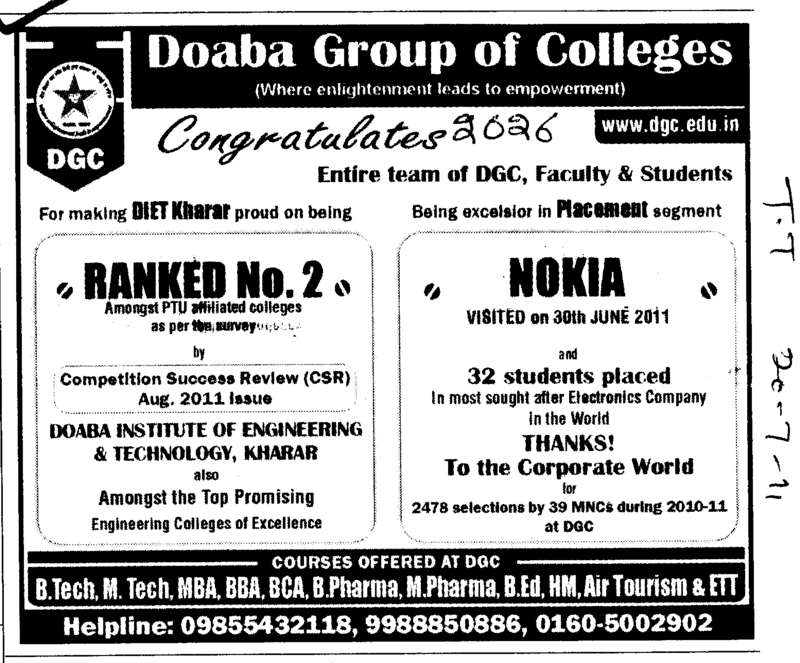 32 Students Placed in Nokia (Doaba Group of Colleges (DGC))