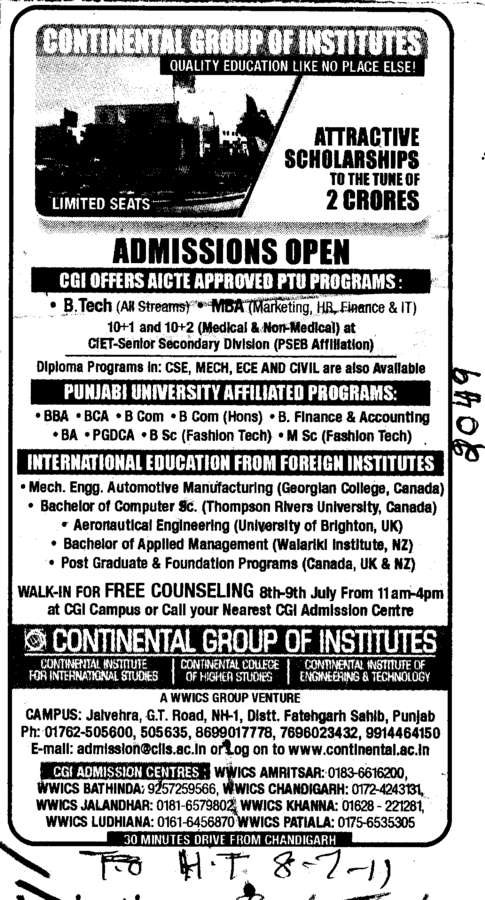 BTech BSc MSc BBA and BCA etc (Continental Group Institute Jalvehra)