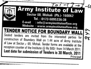 Construction of Boundary Wall (Army Institute of Law)