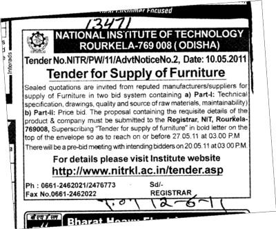 Supply of Furniture (National Institute of Technology (NIT))