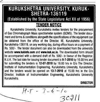 Gas Chromatograph Mass Spectometer (Kurukshetra University)
