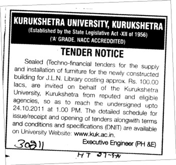 Supply and Installation of Furniture (Kurukshetra University)
