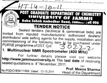 Multinuclear NMR Spectrometer (Jammu University)