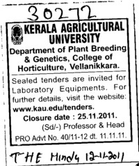 Laboratory Equipments (Kerala Agricultural University)