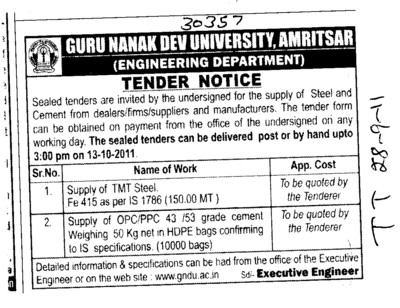 Supply of TMT Steel (Guru Nanak Dev University (GNDU))