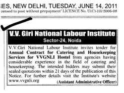 Annual Contract for Catering and Housekeeping Services (VV Giri National Labour Institute (VVGNLI))