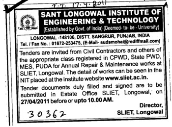 Civil Contractors and Class registered in CPWD (Sant Longowal Institute of Engineering and Technology SLIET)