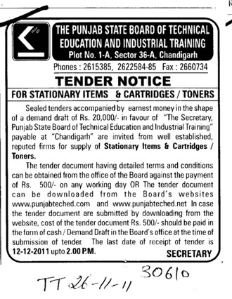 Stationary items and Cartridges etc (Punjab State Board of Technical Education (PSBTE) and Industrial Training)