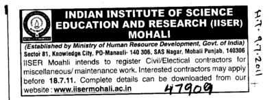 Civil Contractors for maintenance work (Indian Institute of Science Education and Research (IISER))