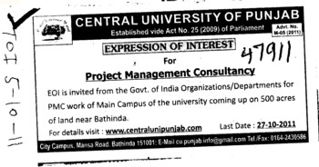 Project Management Consultancy (Central University of Punjab)