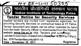 Secuirity Services on Contractual Basis (Indian Institute of Technology IIT)