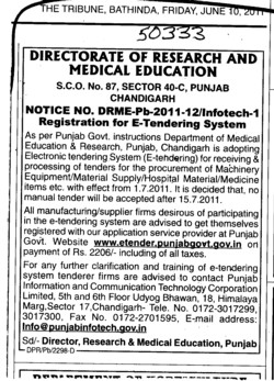 Machinery Equipment and Hospital Material etc (Director Research and Medical Education DRME Punjab)