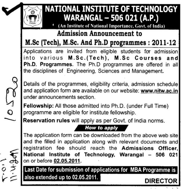 MSc and PhD Programmes (National Institute of Technology NIT)