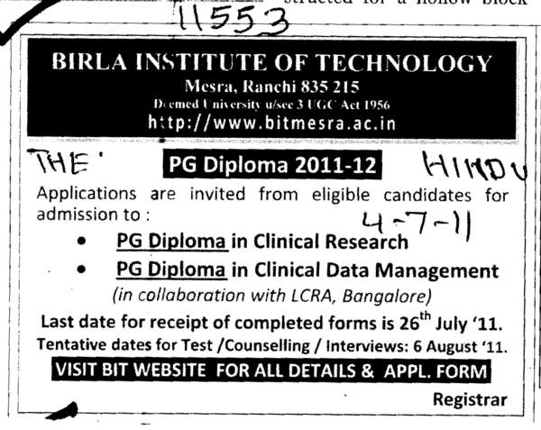 PG Diploma in Clinical Research and Clinical Data Management (Birla Institute of Technology (BIT Mesra))