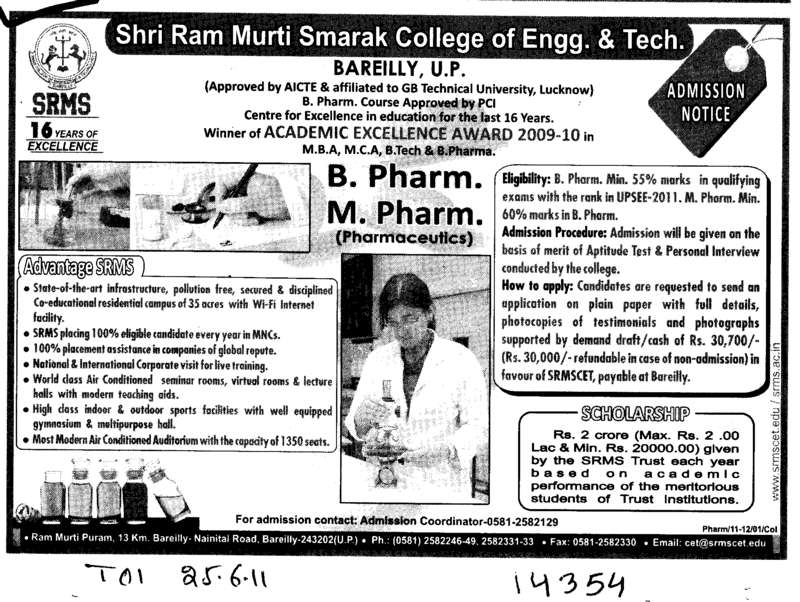 B Pharma and M Pharma Programmes (SRMS College of Engineering & Technology)