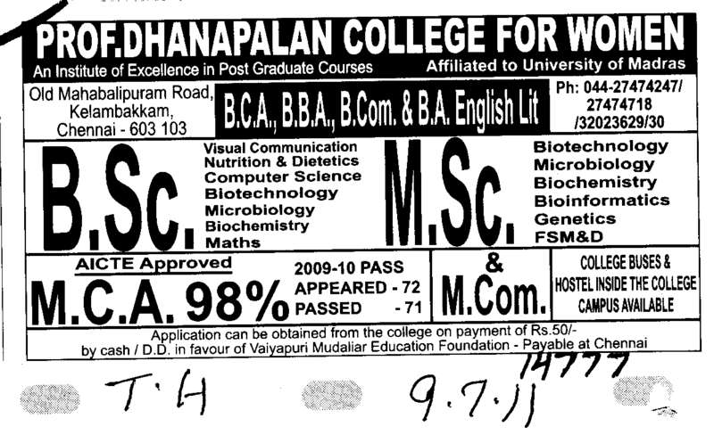BSc MSc MCA and MCom (Prof Dhanapalan College for Women)
