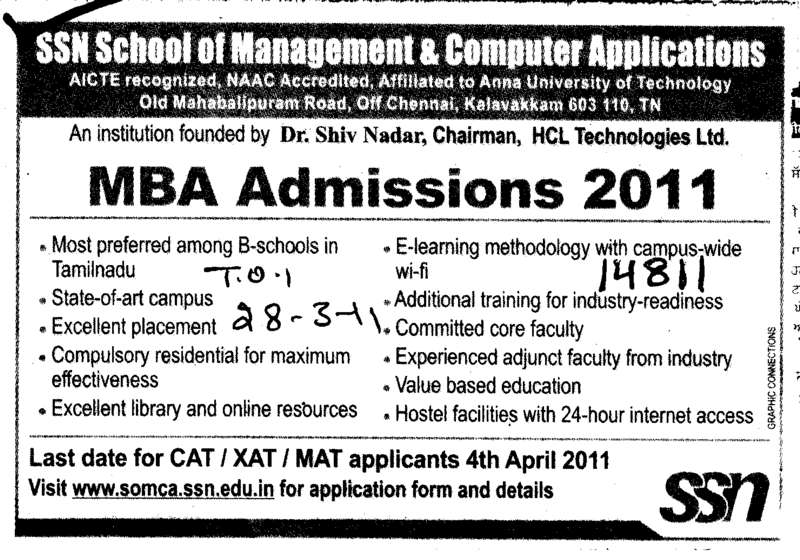 MBA on regular basis (SSN School of Management and Computer Applications (SSN SoMCA))