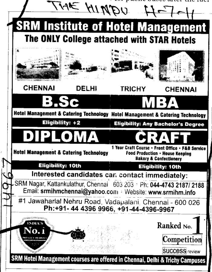 BSc MBA and Diploma in Craft (SRM Institute of Hotel Management)