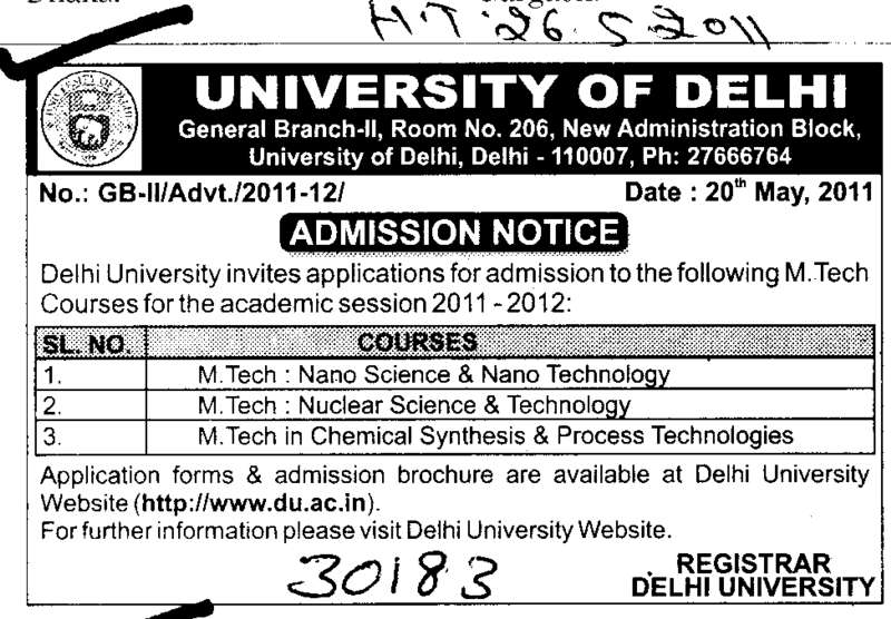 MTech in Nano Science and Nuclear Science etc (Delhi University)