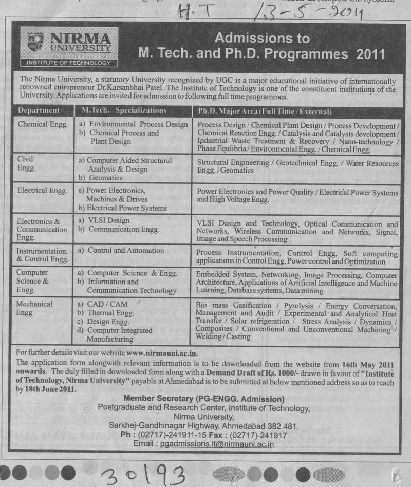 MTech and PhD Programmes (Nirma University)
