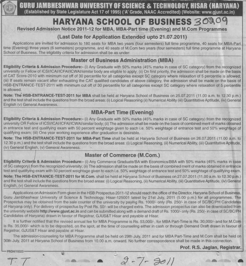 MBA and MCom Programmes (Guru Jambheshwar University of Science and Technology (GJUST))