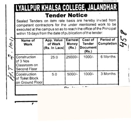 Construction of Toilet Block (Lyallpur Khalsa College of Boys)