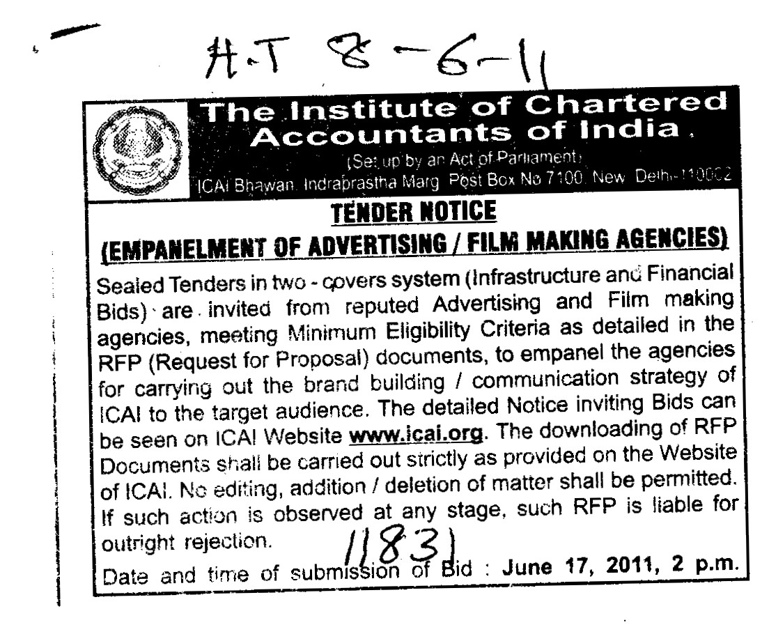 Film making agencies (Institute of Chartered Accountants of India (ICAI))
