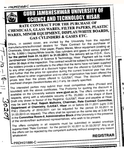 Chemicals Glass Wares and Minor Equipments etc (Guru Jambheshwar University of Science and Technology (GJUST))