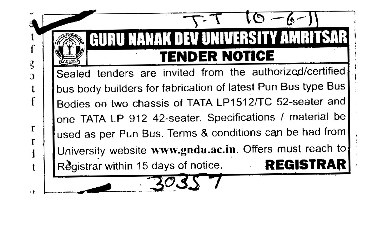 Authorized and Certified bus body Builders (Guru Nanak Dev University (GNDU))