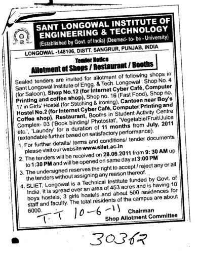 Allotment of Shops (Sant Longowal Institute of Engineering and Technology SLIET)