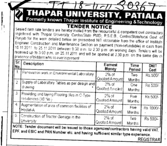 Renovation work and Supply of Laboratory Tables (Thapar University)
