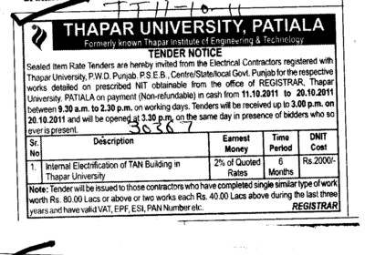 Internal Electrification of TAN Buildings (Thapar Institute of Engineering and Technology University)