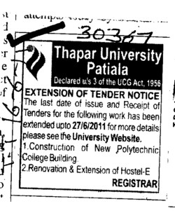 Construction of new Polytechnic Colleges (Thapar University)