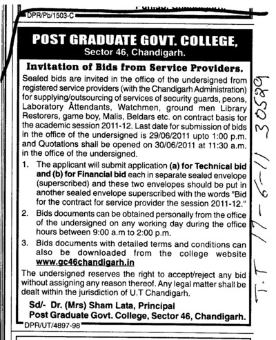 Technical Bid and Financial Bid (Post Graduate Government College, Co-Educational (Sector 46))