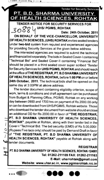 Secuirity Services (Pt BD Sharma University of Health Sciences (BDSUHS))