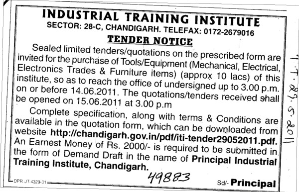 Machinery Equipment and Hospital Material etc (Industrial Training Institute (ITI))