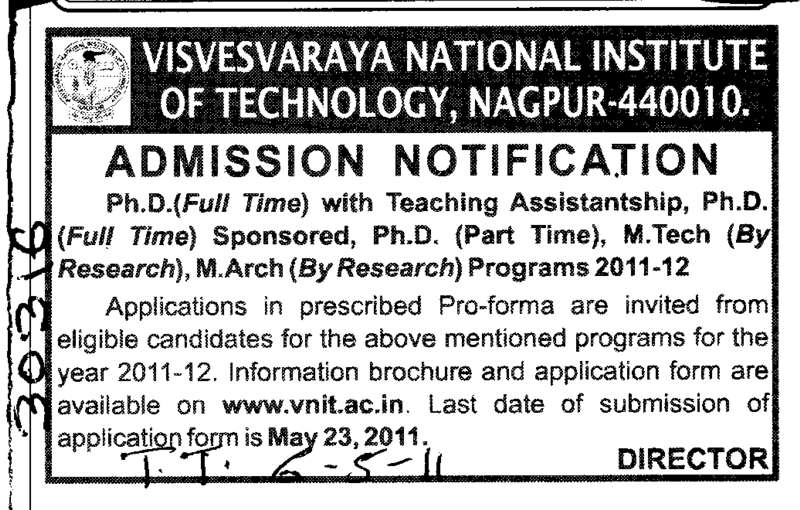 PhD Programmes (Visvesvaraya National Institute of Technology (VNIT))