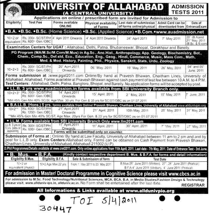 BA BSc and BCom etc (University of Allahabad)