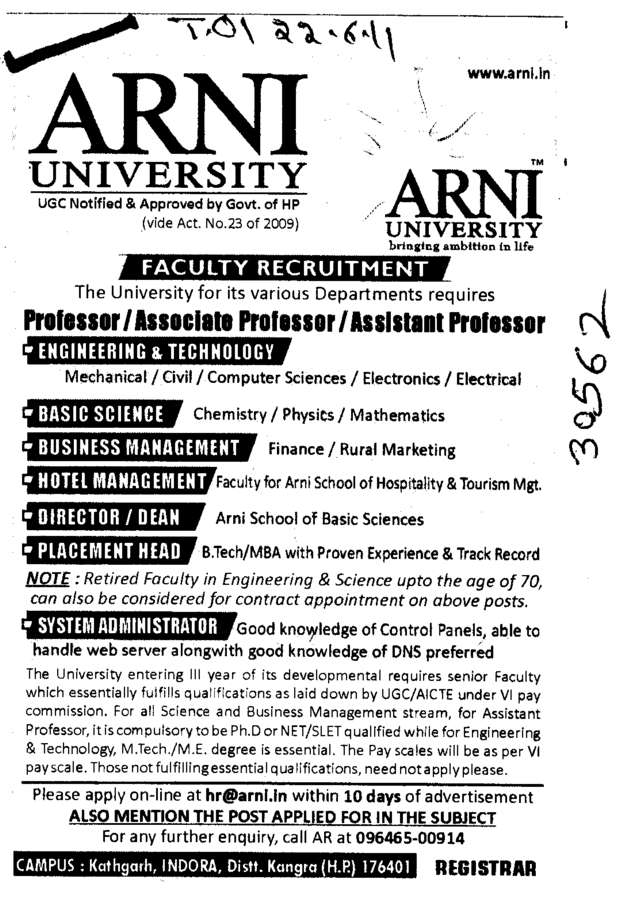 Proffessor Associate Proffessor Reader and Lecturer etc (Arni University Kathgarh)