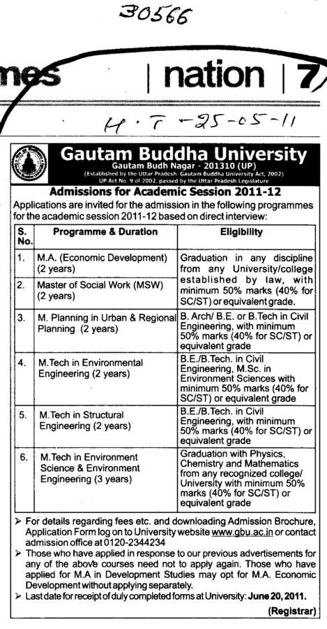 MA Master of Social work and MTech in Structural Engineering etc (Gautam Buddha University (GBU))