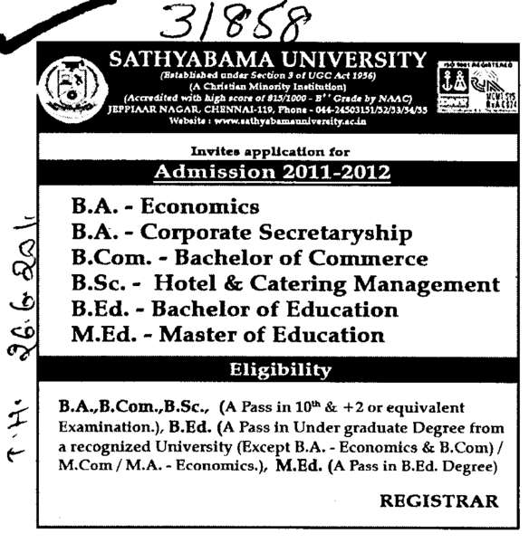 BSc BEd MEd and BCom etc (Sathyabama University, Faculty of Architecture)