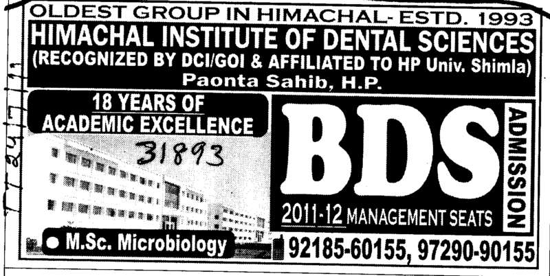 BDS and MSc in Microbiology (Himachal Institute of Dental Sciences HIDS)