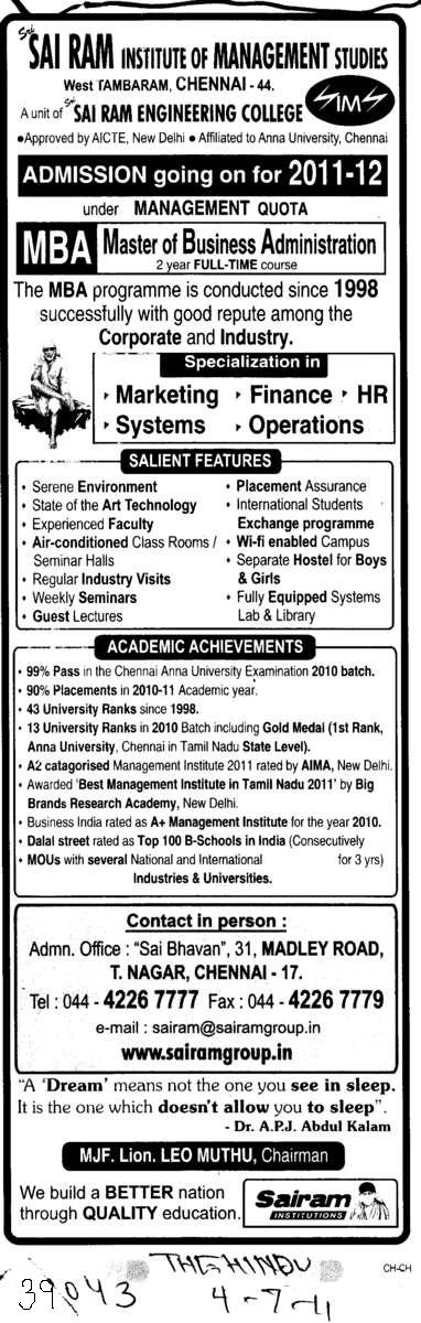 Master of Bussiness Administration (Sri Sai Ram Institute of Management Studies)