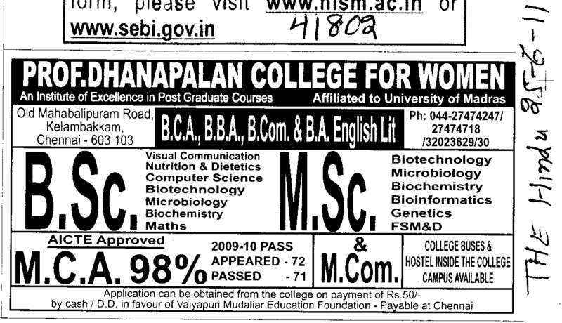 BSc MSc and MCA Course (Prof Dhanapalan College for Women)