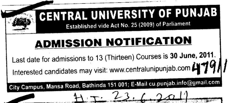 13 Courses for Candidates (Central University of Punjab)