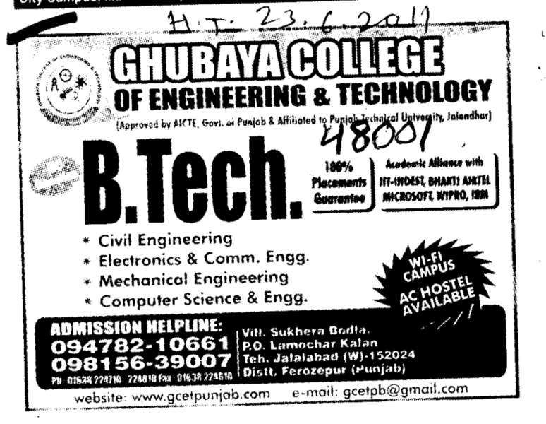 Btech in Civil Engineers Electrical Engineering and Computer Engineer etc (Ghubaya College of Engineering and Technology GCET)